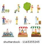 farmers working on land... | Shutterstock .eps vector #1165355245