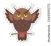funny cuty brown eagle owl... | Shutterstock .eps vector #1165355272