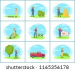 sowing woman on vegetables... | Shutterstock .eps vector #1165356178