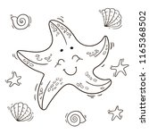 starfish and sea shells. vector ... | Shutterstock .eps vector #1165368502