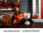 Stock photo young funny girl kid child in halloween orange costume of witch and black hat playing outdoor 1165370635
