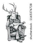 smart deer business suit... | Shutterstock .eps vector #1165376728