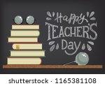 happy teacher's day. stack of... | Shutterstock .eps vector #1165381108