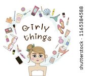girl and women's things  | Shutterstock .eps vector #1165384588
