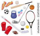 set of cartoon sport equipment. ... | Shutterstock .eps vector #1165394242