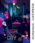 blurred street lights  urban... | Shutterstock .eps vector #1165398328
