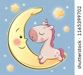 cute cartoon unicorn is sitting ... | Shutterstock .eps vector #1165399702