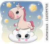 cute cartoon unicorn is lying a ... | Shutterstock .eps vector #1165399705