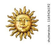 Golden Sun Face Symbol With...