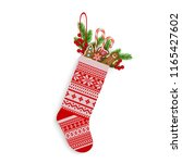 christmas stocking with sweets... | Shutterstock .eps vector #1165427602