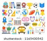 school icons.paper cut cartoon... | Shutterstock .eps vector #1165430542