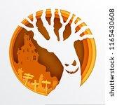 paper art of halloween  vector... | Shutterstock .eps vector #1165430608