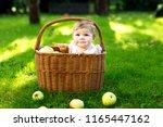 cute baby girl sitting in... | Shutterstock . vector #1165447162