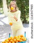 senior woman juggling oranges... | Shutterstock . vector #116547985