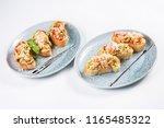 bruschetta from norwegian... | Shutterstock . vector #1165485322