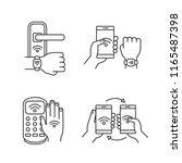 nfc technology linear icons set.... | Shutterstock .eps vector #1165487398