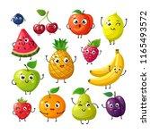 cartoon funny fruits. happy... | Shutterstock .eps vector #1165493572