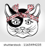 traditional japanese cat in... | Shutterstock .eps vector #1165494235