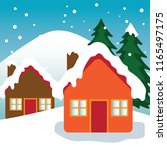 house covered with snow in... | Shutterstock .eps vector #1165497175