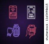 nfc payment neon light icons... | Shutterstock .eps vector #1165498615