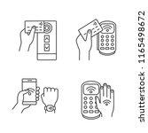 nfc technology linear icons set.... | Shutterstock .eps vector #1165498672