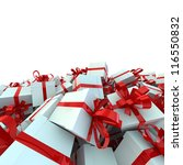 white gift boxes with red... | Shutterstock . vector #116550832