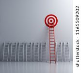 long red ladder to goal target... | Shutterstock . vector #1165509202