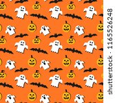happy halloween background.... | Shutterstock . vector #1165526248