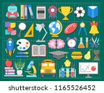 school icons on green cutting... | Shutterstock .eps vector #1165526452