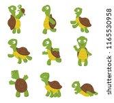 cute turtle. green tortoise... | Shutterstock .eps vector #1165530958