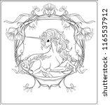 unicorn and fantastic vintage... | Shutterstock .eps vector #1165537912