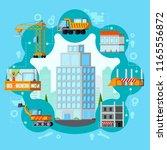 sky scraper building process...   Shutterstock .eps vector #1165556872
