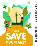 saving of planet poster with... | Shutterstock .eps vector #1165564858