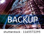 backup button on modern server... | Shutterstock . vector #1165572295