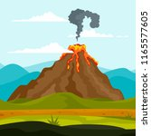 eruption of volcano background. ... | Shutterstock . vector #1165577605