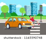 car knocks down a person....   Shutterstock .eps vector #1165590748