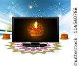 beautiful happy diwali led tv... | Shutterstock .eps vector #116560786