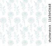 white aqua hand drawn floral... | Shutterstock .eps vector #1165643668