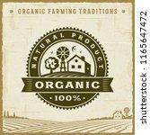 vintage organic 100  natural... | Shutterstock . vector #1165647472