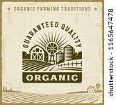 vintage organic guaranteed... | Shutterstock . vector #1165647478