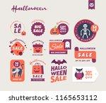 set of cute halloween sale... | Shutterstock .eps vector #1165653112