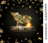 happy new year card. gold... | Shutterstock .eps vector #1165655995