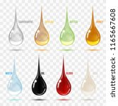 set of transparent drops in... | Shutterstock .eps vector #1165667608