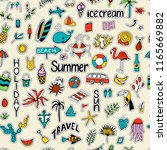 seamless pattern with summer... | Shutterstock .eps vector #1165669882