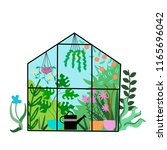 greenhouse with plants and... | Shutterstock . vector #1165696042