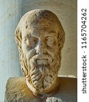 Sculpture of Herodotus in the porch of the Stoa of Attalos building at the Ancient Agora of Athens. Attica region, Greece.