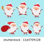 set of cute cartoon santa... | Shutterstock .eps vector #1165709128