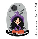 vector of cute witch for... | Shutterstock .eps vector #1165717708