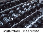 gym and dumbbell weight... | Shutterstock . vector #1165734055