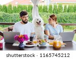 family business. couple working ... | Shutterstock . vector #1165745212